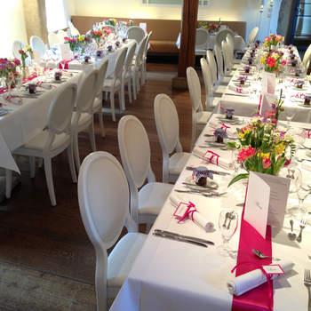 """Der Bankettbereich im Restaurant  <a href=""""http://www.schloss-romrod.com"""">Schloss Romrod</a>"""