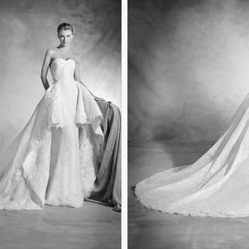 Auf der einen Seite ist dieses Brautkleid eine sinnliche Robe im Meerjungfrauen-Stil,  auf der andern wiederum eine Robe in Prinzessinnen-Silhouette für mehr Volumen und Romantik!