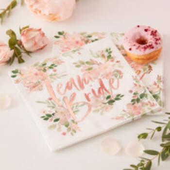 Serviettes Team Bride Floral 16 Pièces - The Wedding Shop !