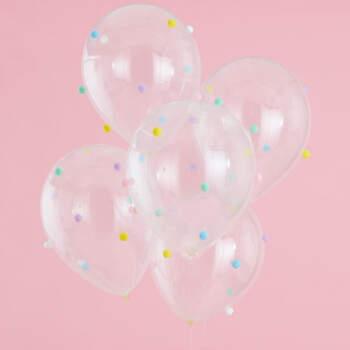 Globos de colores pastel con pompón 5 unidades- Compra en The Wedding Shop