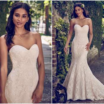 """This strapless fit-and-flare wedding dress features allover lace and a soft sweetheart neckline. Finished with covered buttons over zipper and inner elastic closure.  <a href=""""https://www.maggiesottero.com/maggie-sottero/philomena/11184?utm_source=zankyou&amp;utm_medium=gowngallery"""" target=""""_blank"""">Maggie Sottero</a>"""