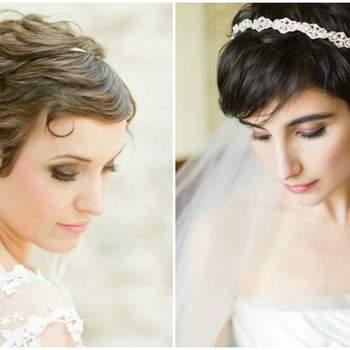 Pour les mariées aux cheveux courts, rien de mieux qu'undiadème fin pour personnaliser sa tenue.Photo : Jordi Miller & Justin Mary Marantz