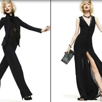 Due proposte in nero firmate Roberto Cavalli: un tailleur pantalone con blazer iperaderente e un abito con profondo spacco. Foto: www.robertocavalli.com