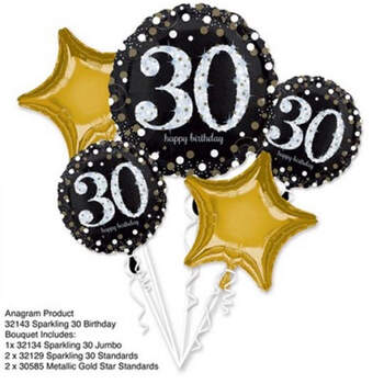 Bouquet globos Happy birthday 30 anni - Compra en The Wedding Shop