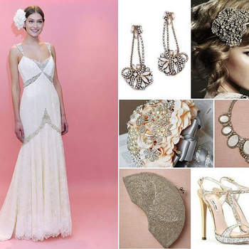 VINTAGE GLAMOUR: This bride wears a vintage inspired lace gown with crystal accents from the Badgley Mischka Spring 2013 bridal collection. She complements her glamorous 1920s look with dazzling Art Deco inspired accessories: Burnished Gold Earrings by Erick Beamon for Club Monaco, 'Harlow' Headpiece with Ivory Ribbon by Johanna Johnson, Vintage Brooch Bridal Bouquet by LXDesigns on Etsy, Reflecting Pools Necklace by Ranjana Khan on BHLDN, Radio City Clutch by Moyna on BHLDN, Glitter heels by Miu Miu. (USA)