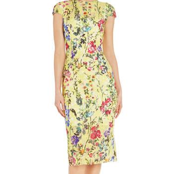 Garden floral sheath dress. Credits: Monique Lhuillier