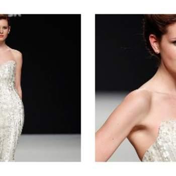 Lee Seung Jin  propose cette robe sirène entièrement brodée.