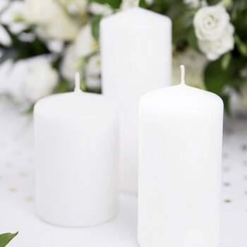 Bougie Décotative Blanche Opaques Grandes 6 Pièces - The Wedding Shop !