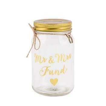 Hucha en vidrio dorado- Compra en The Wedding Shop