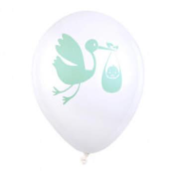 Ballons Cigogne Menthe 8 Pièces - The Wedding Shop !