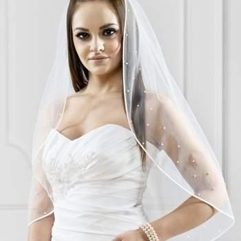 Voile de mariée en tulle avec pierres de swarovski  Crédit photo: Robes Gallery