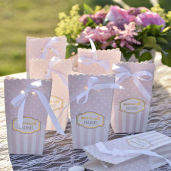 Cajas para candy bar rosa 6 unidades- Compra en The Wedding Shop