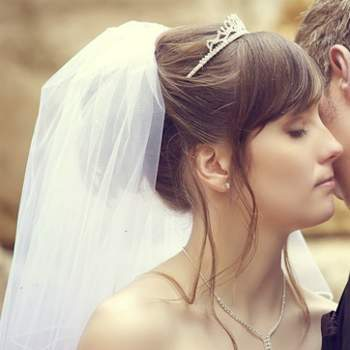 Updo with wedding veil and tiara