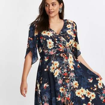 Credits: Scarlett  Jo Navy Blue Floral Print Hanky Hem Dress, Evans