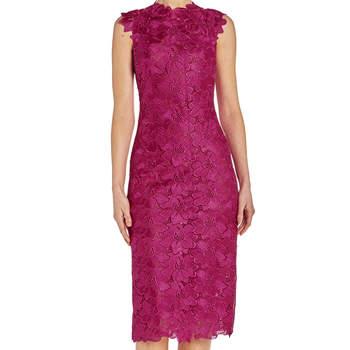 Floral lace sheath dress. Credits- Monique Lhuillier