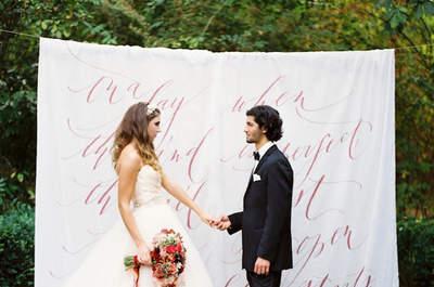 Caligrafía en telas para matrimonios, ¡descubre esta tendencia tan chic!