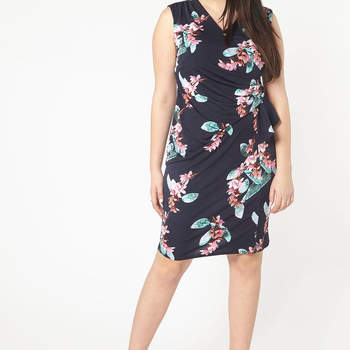 Navy Blue Hourglass Fit Floral Dress. Credits: Evans