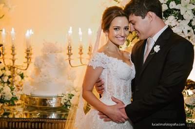 Casamento de Marcela & Gustavo: cerimônia clássica com noiva DESLUMBRANTE