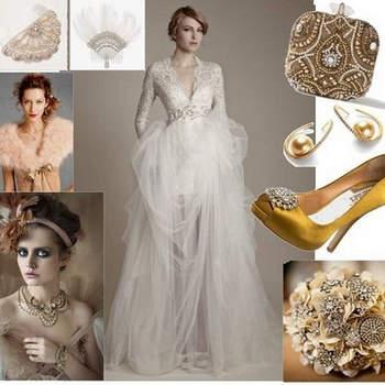 NOIVA-ARISTOCRATA. Romântica e elegante. Em 2013, as noivas podem optar por looks neste estilo: super elegantes e luxuosas. Aqui neste look, totalmente dominado por ouro e prata, vemos o glamour e uma maquiagem marcada. Um noiva entre a rainha e o popular.  Foto: wedding dress-Ersa Ateleir 2013, arranjo de cabelo Michlan Negrín, bolsa Marchesa, brincos Barrigs, sapatos Badgley Mischa, buquê bridalguide.com (Polônia)