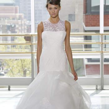 Vestido de novia corte sirena con falda en capas
