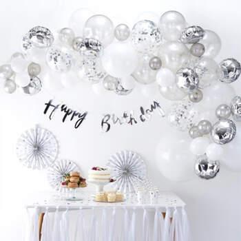 Arco de globos de plata 70 unidades- Compra en The Wedding Shop