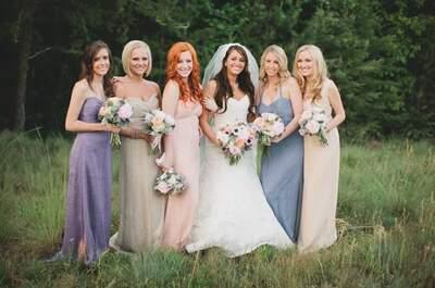Vestidos de fiesta para damas de boda en morado y rosa, moda 2013