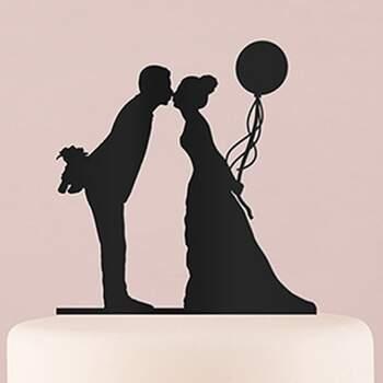 Cake Topper Silhouette Mariée Avec Ballon Noir - The Wedding Shop !
