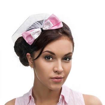 Diadema velo lazo rosa- Compra en The Wedding Shop