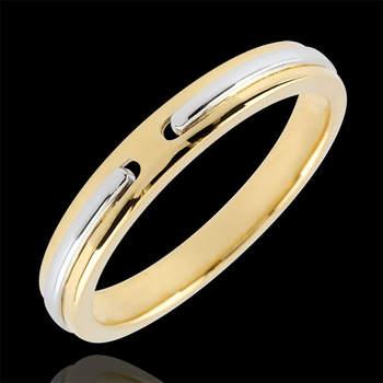Original alianza en oro blanco y amarillo de 9 quilates. Foto: Edenly.  http://tinyurl.com/d5ubb8p
