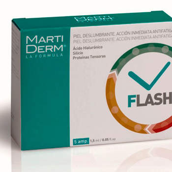 Martiderm Flash para una piel deslumbrante al instante. Visible aspecto anti-fatiga, hidratante y reafirmante