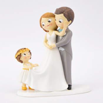 Figura tarta nupcial recién casados con hija- Compra en The Wedding Shop