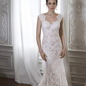 "Made from exquisite floral lace, this sheath gown is the epitome of romance. Complete with a scalloped lace neckline and illusion lace back. Finished with covered button over zipper back closure. <a href=""https://www.maggiesottero.com/maggie-sottero/londyn/8215"" target=""_blank"">Maggie Sottero</a>"