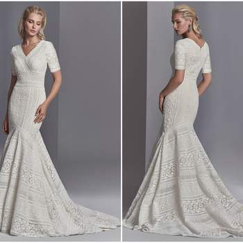 "This modest boho wedding dress features patterns of eyelet lace, floral motifs, and scalloping in a fit-and-flare silhouette, completing the V-neckline and half sleeves. Finished with zipper closure.   <a href=""https://www.maggiesottero.com/sottero-and-midgley/cooper-rose/11206?utm_source=zankyou&amp;utm_medium=gowngallery"" target=""_blank"">Sottero and Midgley</a>"
