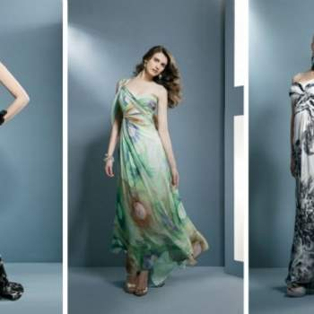 Robes longues et vaporeuses à imprimés. Beaucoup d'allure et de naturel pour un mariage. Demetrios 2012