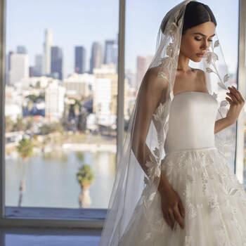 Photo : voile de mariée brodé