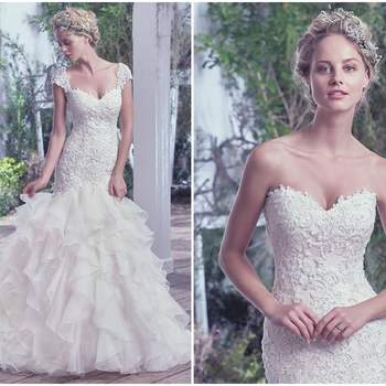 "Refined bridal romance is epitomized in this fit and flare wedding dress, featuring an intricate lace and beaded drop waist bodice, flaring into a layered tulle and Chic organza skirt. Finished with covered buttons over zipper and inner corset closure. Detachable lace cap-sleeves sold separately.  <a href=""https://www.maggiesottero.com/maggie-sottero/tawny/9732"" target=""_blank"">Maggie Sottero</a>"