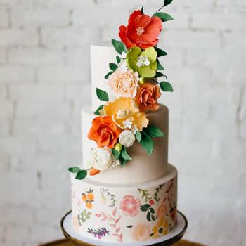 Inspiração para bolos de casamento de 3 andares | Créditos: Tiffani Jones Photography