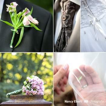 Boutonnière du marié qui se combine avec le bouquet de la mariée. Photo : Nancy Herbert