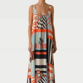 Robe Tara Jarmon 2012 : Mademoiselle Tara. Ravissant imprimé graphique coloré. Une robe parfaite pour un mariage estival. Source : Tara Jarmon.