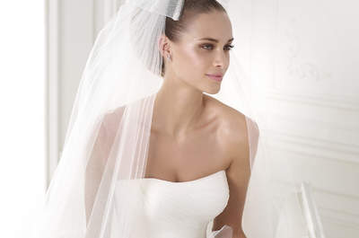 Delicate draping by Pronovias 2015