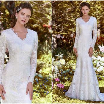 Mit langen Ärmeln und einem fast nur angedeuteten V-Ausschnitt sowie einer schönen A-Linie wirkt dieses Kleid erwachsen und stilvoll.