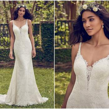"""Soft allover lace comprises this wedding dress, featuring illusion lace details along the plunging sweetheart neckline and scoop back. Beaded straps accented in Swarovski crystals complete the unique elegance of this sheath gown. Lined with Inessa Jersey for a luxe fit. Finished with covered buttons and zipper closure.   <a href=""""https://www.maggiesottero.com/maggie-sottero/dorian/11167?utm_source=zankyou&amp;utm_medium=gowngallery"""" target=""""_blank"""">Maggie Sottero</a>"""
