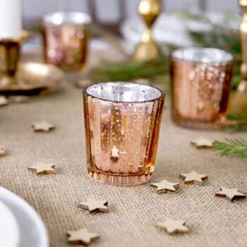 Portavelas de vidrio oro rosa 6 cm 4 pezzi - Compra en The Wedding Shop