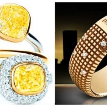 Diamants jaunes montés sur un anneau de Tiffany et bague en or jaune avec diamants de  Damiani métropolitaine