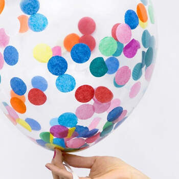 Globo con confeti de colores 6 unidades- Compra en The Wedding Shop