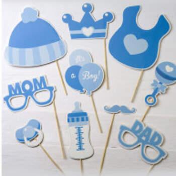 Kit de photomaton It's A Boy bleu clair 10 pièces - The Wedding Shop !