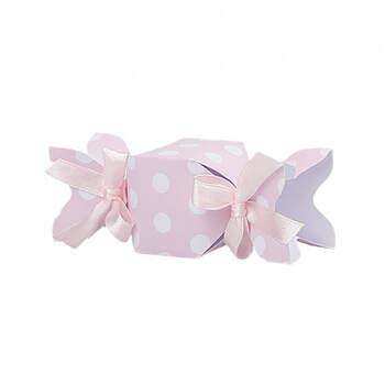 Caja forma caramelo rosa lunares blancos 20 unidades - Compra en The Wedding Shop