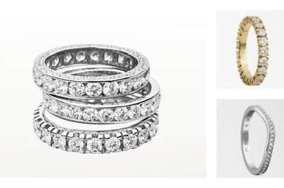 Selezione di fedi nuziali con diamanti. A sinistra Re Carlo, a destra due modelli di Cartier.