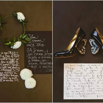 Credits: Calligraphy: Betty Soldi; Shoes: Alberto Guardiani; Photography: Cinzia Bruschini; Planning + design: Le Jour du Oui
