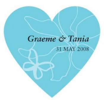 Sticker en forme de coeur bleu clair pour mariage. Crédit photo: Mariage Original http://www.google.com